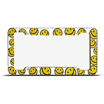 Yellow Smiley Happy Face Plastic License Plate Frame Tag Holder