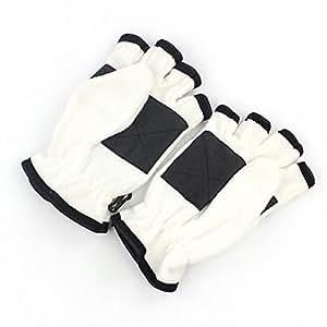 Otoño E Invierno Vellón Medio Dedo Tirón Cálido Antideslizante Caucho Expuesto Montar A Caballo Guantes,White