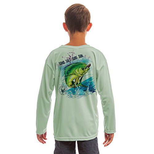 Fish Girl Fitted Shirt - SAND.SALT.SURF.SUN. Saltwater Fish Dorado Youth UPF 50+ UV/Sun Protection Long Sleeve T-Shirt Small Seagrass