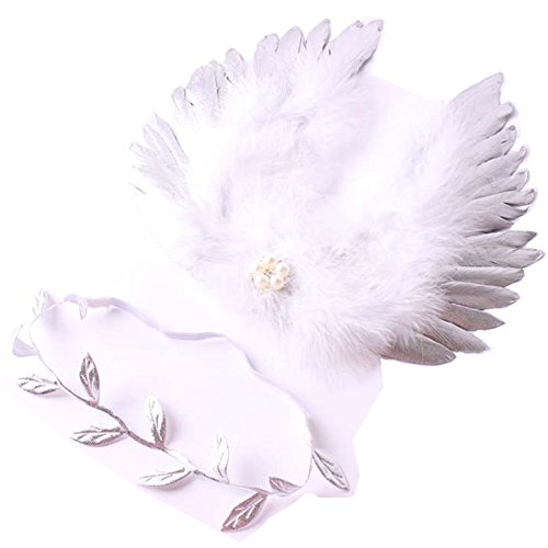 [1 Set Newborn Baby Gold Silver Leaf Headband Wing Costume Photo Photography Prop] (Newborn Angel Wings)