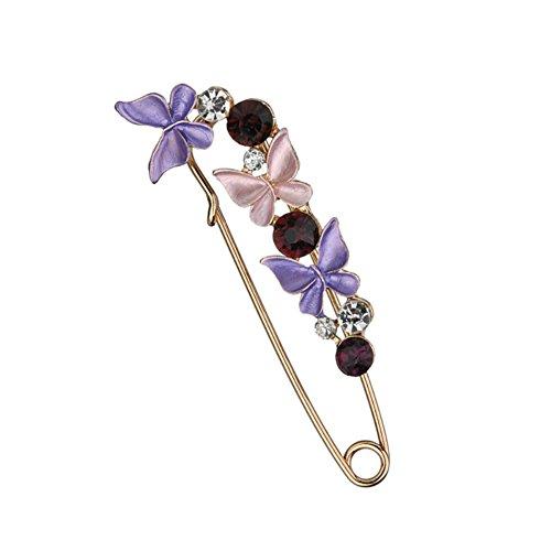 Meiyuan Elegant Butterfly Flower Rhinestone Safety Pin Brooch for Scarf, Tie, Hat, Dress, Coat (Dress Brooch)