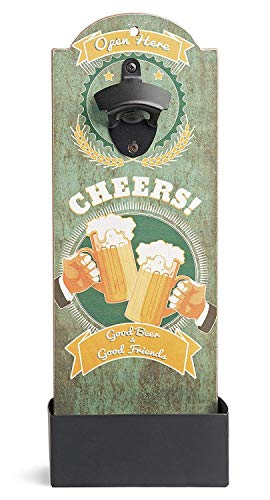 """Bottle Cap Opener and Catcher Novelty Retro Style Sign Wall Art """"Good Beer and Good Friends"""" (Opener Bottle Retro)"""