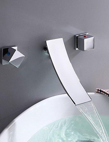 Zeitgen?ssische Chrome Drei L?cher ZWei?Griffe an der Wand befestigter Wasserfa?l Waschbecken Wasserhahn
