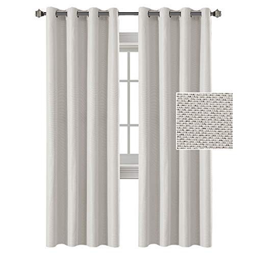 H.VERSAILTEX Linen Curtains White 84 Room Darkening Light Blocking Curtains Thermal Insulated Heavy Weight Textured Rich Linen Curtains for Bedroom/Living Room, 52 by 84 Inch - Off White (2 Panels) (Plaid Curtains Blackout)