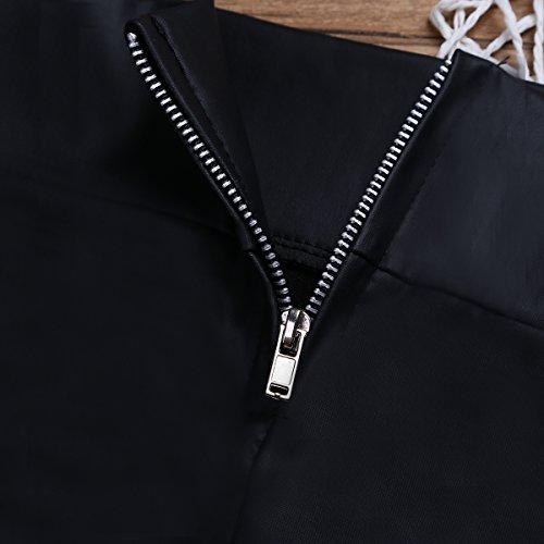 Damen Rock Wetlook Minirock Kunstleder Stretchrock mit Reißverschluss Schwarz