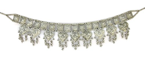 Womens Fashion Sash Belt | Tribal Belly Dance Boho Wedding Gypsy Hippie Costume Skirt Dress Waist Hip Jewelry | Handcrafted Vintage Finish Itched Silver Plated Heart Medallions | One Size - Belly Hippie Dance Gypsy