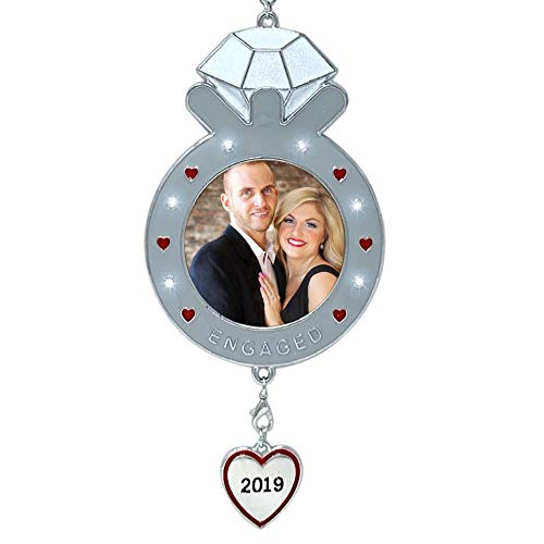 BANBERRY DESIGNS 2019 Dated Engagement Christmas Ornament-Keepsake Engagement Ring Picture Ornament- Newly Engaged Xmas Photo Ornament (Best Engagement Rings 2019)
