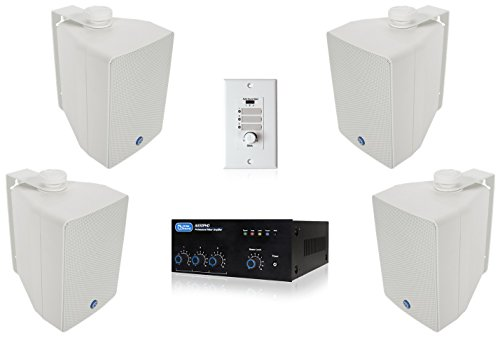 Complete Restaurant Sound System with Four Atlas Sound SM42T Loudspeakers, Mixer Amplifier and Remote Volume Control (White)