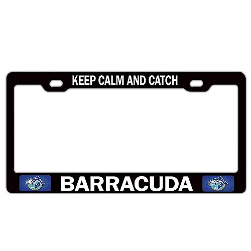 Keep Calm And Catch Barracuda Fishing Fisherman(1) Black License Plate Frame Tag, 2 Holes Aluminum Metal with Screw Caps, Humor Funny Car License Plate Cover Holder for US Vehicles (Barracuda Bike Holder)