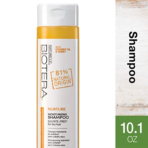 - Biotera Natural Origin Nurture Moisturizing Shampoo, with Coconut Oil and Honey/Free from SLS/SLES Sulfates, Silicones, Parabens, Dyes and Gluten/Up to 97% Natural Original, 10.1-Ounce