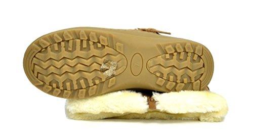 TRAUM-PAAR-Frauen Winter voll Pelz gefüttert Reißverschluss Schnee kniehohe Stiefel Minx-Kamel