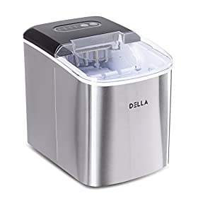 DELLA Portable Ice Maker Machine Compact Counter 26 lbs Cubes Electric w/Scoop, White/Black/Stainless Steel/Red
