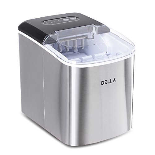 DELLA Ice Maker Machine Automatic Portable Icemaker Producing - 26lbs per Day w/ 2 Selectable Cube Size, Stainless Steel