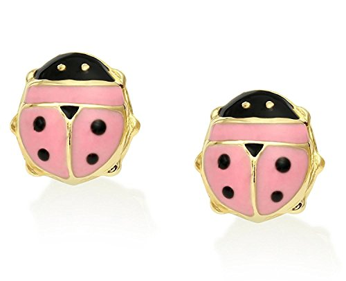 Tiny 14k Yellow Gold Pink Enamel Ladybug Stud Earrings with Silicone Comfort Friction Backings (Earring Gold 14k Yellow Ladybug)