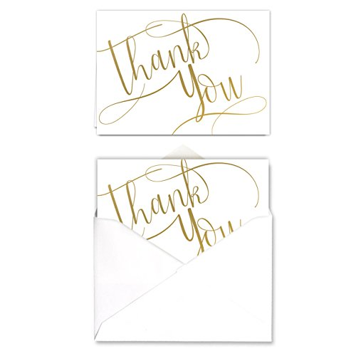 Gold-Foil-Thank-You-Note-Card-Pack-Set-of-50-cards-blank-inside-with-envelopes