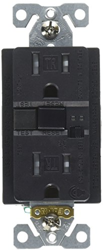 EATON TRSGFA15BK Aaron Hart 15A 125V Tamper Resistant GFCI Receptacle with Audible Alarm, Black,