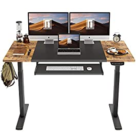 FEZIBO Dual Motor Height Adjustable Electric Standing Desk with Keyboard Tray, 55 x 24 Inch Sit Stand Table with Splice Board, Black Frame/Rustic Brown and Black Top