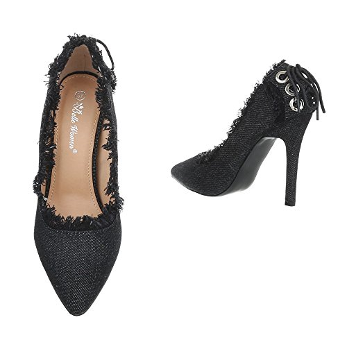 Ital-Design High Heel Pumps Damenschuhe High Heel Pumps Pfennig-/Stilettoabsatz High Heels Pumps Schwarz