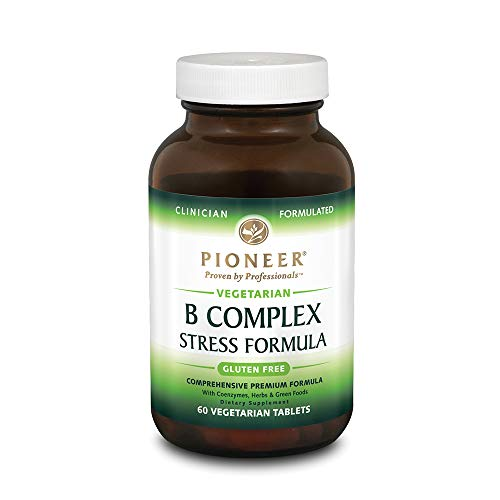 Pioneer B Complex Stress Formula | High Potency B Vitamins | Whole Food Based | Verified Gluten Free | 60 Vegetarian Tablets (Vitamin B-complex Formula)