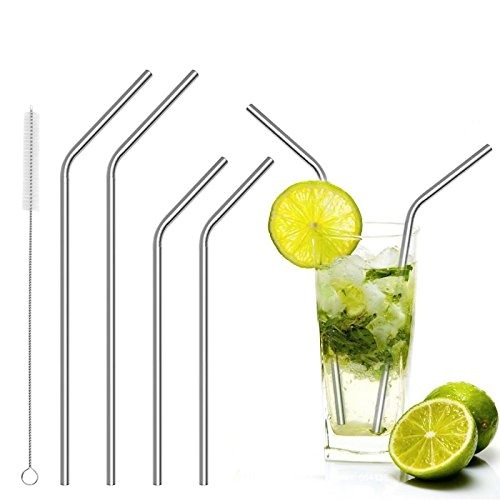 teerasmile 5 pcs Stainless Steel Drinking Reusable Straws+Clean Brush Kitchen Dining Bar Accessories CE/EU (Drinking Quest Trilogy Edition)