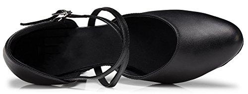 Abby Womens Latin Tango Cha-cha Salsa Party Modern Kitten Heel Round-toe Leather Dance-sneaker Black(3.15in) PcxqCWB