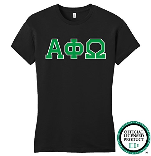 ALPHA PHI OMEGA | Green Letters - Licensed Fitted Ladies' T-shirt-Ladies,