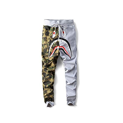 Casual Sweatpants Men Trousers Athletics Women Sweatpants Shark Head Jaw Rap bape Sweatpants (Grey-camo, L)