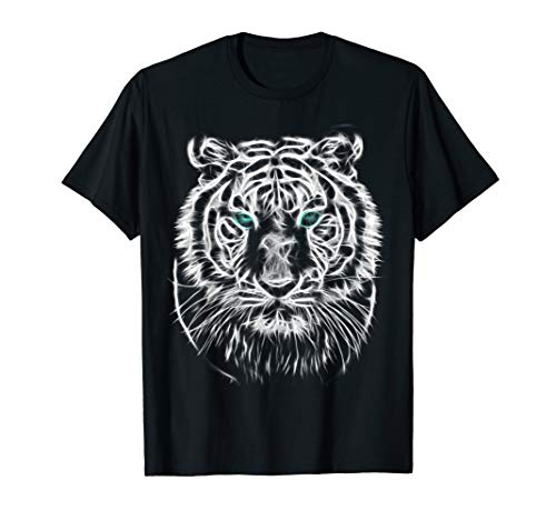 Tee Face Lion - White tiger Siberian tiger face Animal Print Cat T-shirt
