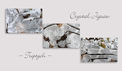 Crystal Jigsaw Triptych/ Abstract Ice Patterns/ Winter, Nature/ Set of 3 Fine Art Photography Prints by PhotoClique