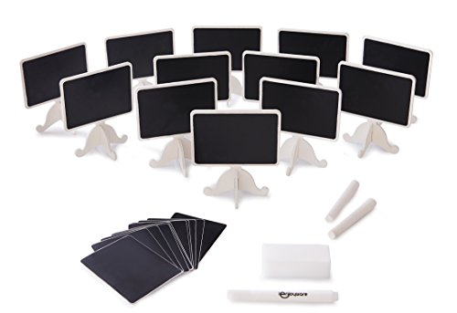 12 Pack Two-Sided Mini Chalkboard Signs with Supporting Easels: Rectangle Chalkboard Decoration For Message Board Signs | For Weddings, Parties & Buffet Tables (Tags Name Buffet)