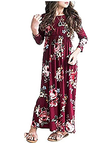a62ba1ac47e QIJOVO Girl Floral Maxi Dress with Pockets Sleeves Long Holiday Dress Pink