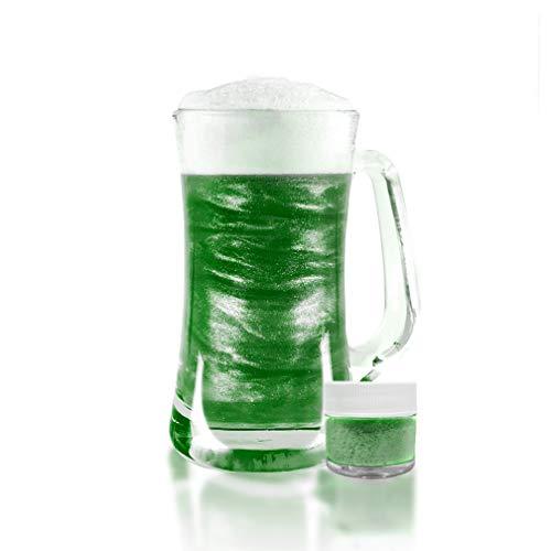 Green Beer & Beverage Glitter   4 Gram Jar   Edible Food Grade Beer Glitter, Cocktail Glitter & Beverage Glitter