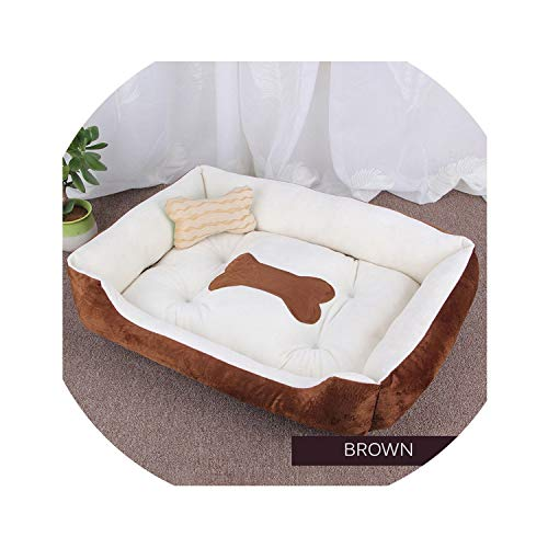 Dog Bed Warming Kennel Washable Pet Floppy Extra Comfy Plush Rim Cushion and Nonslip Bottom Dog House,Brown,L 70cmX 50cm X15cm]()