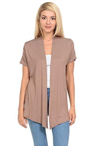 Sleeve Knit Open Short - Pastel by Vivienne Women's Short Sleeve Open Front Vest XX-Large Mocha