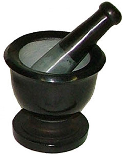 Black Soapstone Mortar & Pestle, 3 inch Diameter