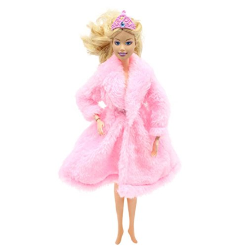 Funny Doll Clothes,Showking Fur Winter Warm Coat Flannel Outfit Doll Accessories For Barbie Doll for Kids Birthday Gift (Pink) -