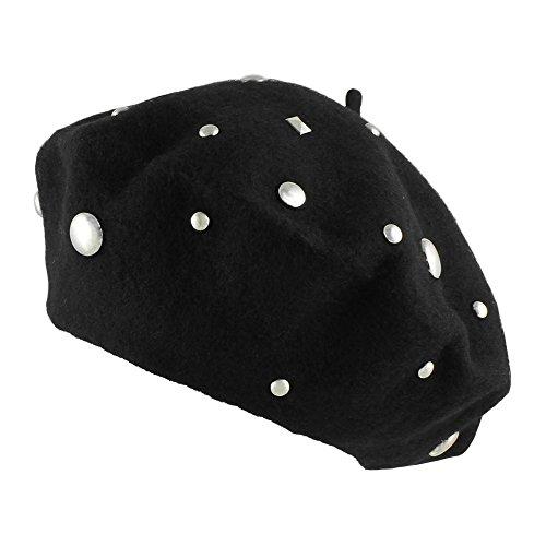 Morerhats Women's Wool Mixed Studs Studded Beret Warm Winter Hat - Black (Studded Beret)