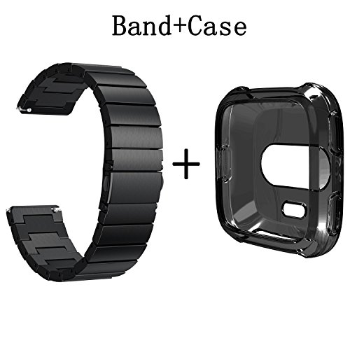 Senter for Fitbit versa Accessory Bands and Case,One strain Stainless Steel Strap Wrist Band Replacement Band for Fitbit versa Smart Watch