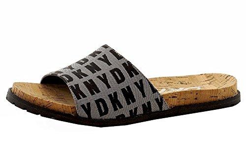 Donna Karan DKNY Women's Slide Logo White/Black Fashion Sandals Shoes Sz: 7