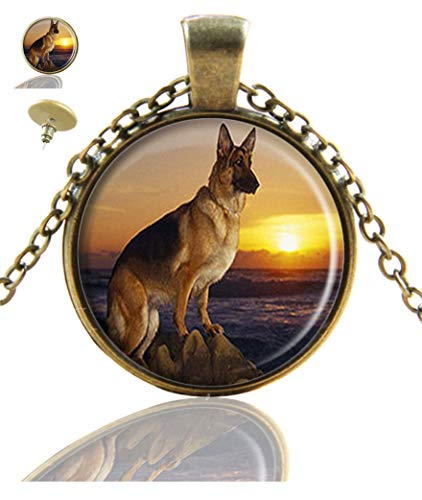 Youroom Custom Fashion Retro Bronze Pendant Necklace Stud Earring Jewelry Glass Necklace Set (German Shepherd Dog)