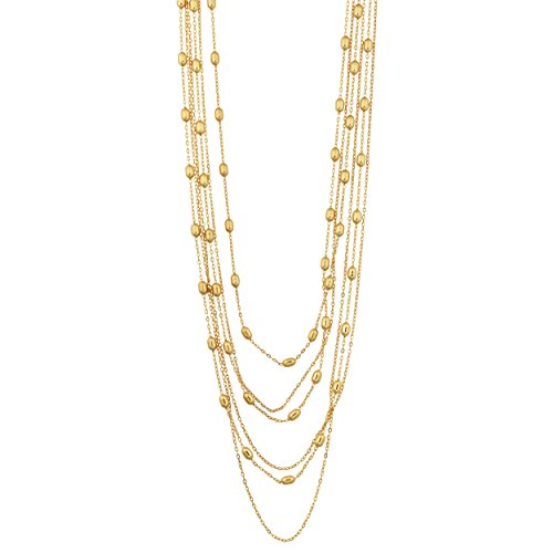 (Kooljewelry Yellow Gold Over Sterling Silver Multi-Strand Bead Station Necklace (18 inch))