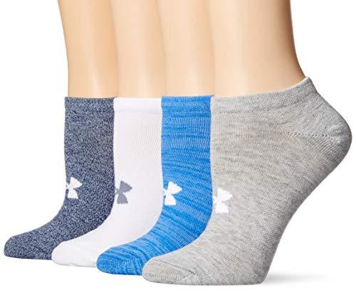 Under Armour Womens Essential No Show Socks 4 Pairs, Mako Blue Assorted, Medium