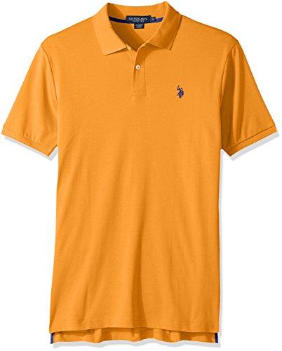 U.S. Polo Assn. Men's Solid Interlock Short-Sleeve Shirt, Summer School Orange-3045, X-Large (Interlock Embroidered)