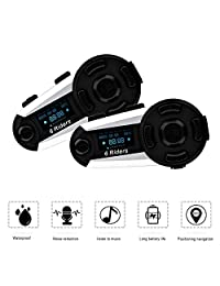 ESoku T20S - Interfono Bluetooth para motocicleta, 3,937.0 ft, 6 conductores, auriculares bluetooth dúplex completo, impermeable, inalámbrico, compatible con radio FM, manos libres, pantalla LCD (2 unidades)