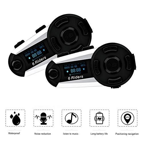 (ESoku T20S Motorcycle Bluetooth Intercom, 1200m 6 Riders Full Duplex Bluetooth Helmet Headsets, Waterproof Wireless Interphone Support FM Radio, Handsfree and LCD Screen (2 Packs))