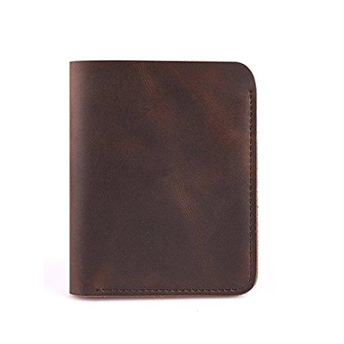 ZE Men's Handmade Front Pocket Vertical Bifold Short Leather Wallet,Vintage Style (Dark Brown)