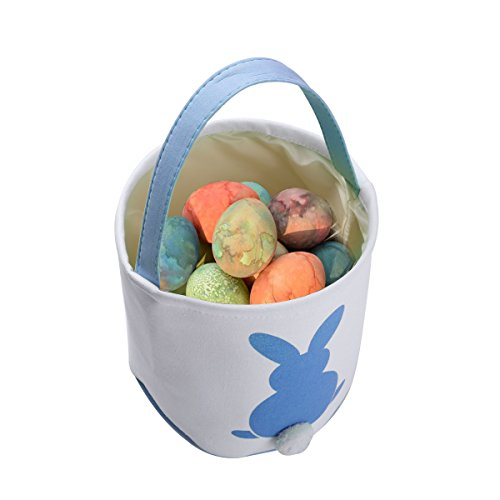 Lovely Bunny Bag Easter Egg Hunt Bucket Canvas Basket Storag