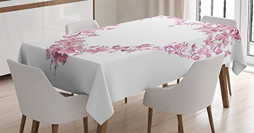 Ambesonne Love Decor Tablecloth by, Floral Love Shape Heart of Butterflies Valentine Day Flowers Ornamental, Dining Room Kitchen Rectangular Table Cover, 60 X 84 Inches -