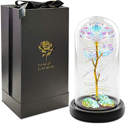 URBANSEASONS Beauty and The Beast Rose Kit,Colorful Artificial Flower Rose Gift,Lasts Forever in A Glass Dome,Unique…