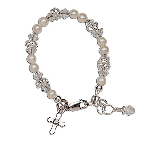 (Children's Sterling Silver First Communion, Baptism Cross Bracelet with Cultured Pearl and Crystal)